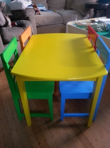 Painted Table and Chairs Pushed In